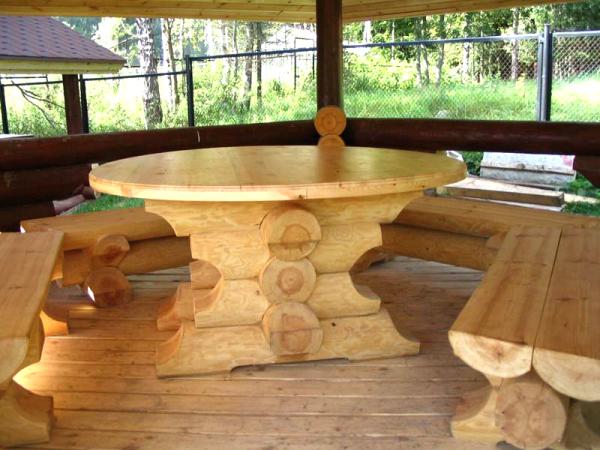 Круглый стол и скамьи для беседки