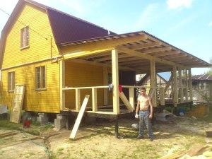 Каркасная пристройка крыша