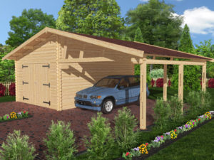 Проект гаража с навесом