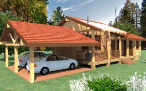 Баня и дом с навесом для машин
