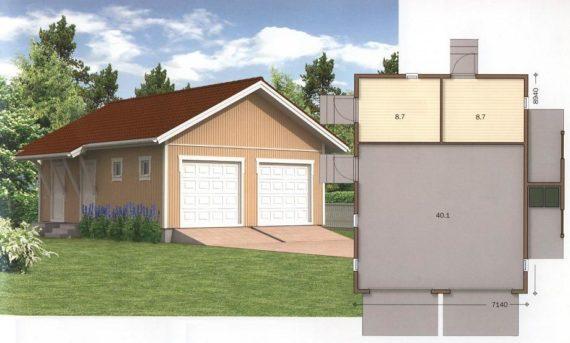 проект гараж с хозблоком 1