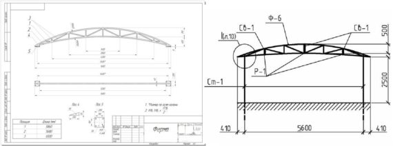 чертеж металлического автомобильного навеса
