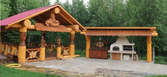 дизайн летней кухни в стиле русской деревни