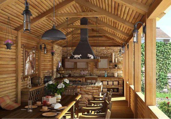 внутреннее оформление летней кухни