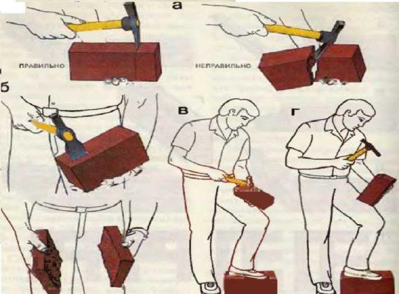как колоть кирпич