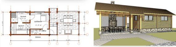 проект бани с летней кухней