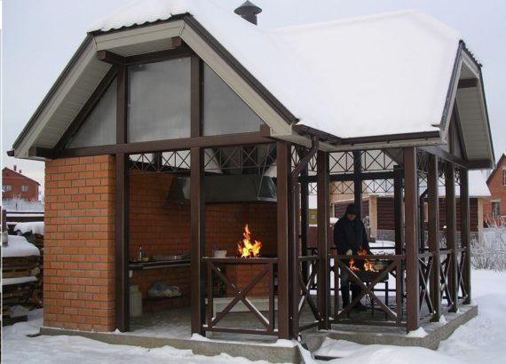 летняя кухня зимой