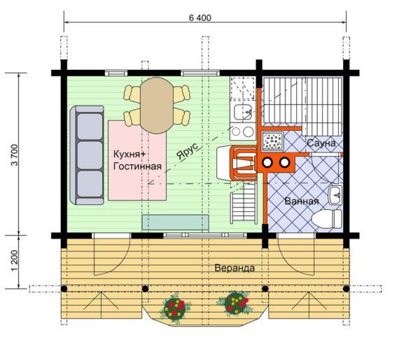 простой проект кухни с баней 4